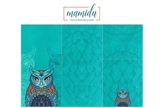 Panel for sleeping bag  Colorful owl