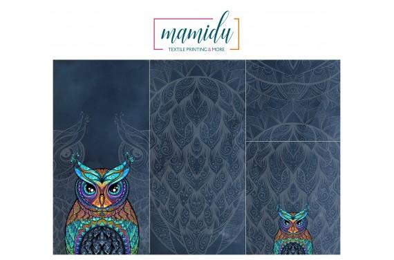 Panel for sleeping bag  Colorful owl dark