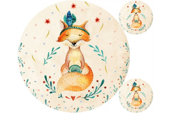 """Mat """"Autumn fox"""" + FREE pillow"""