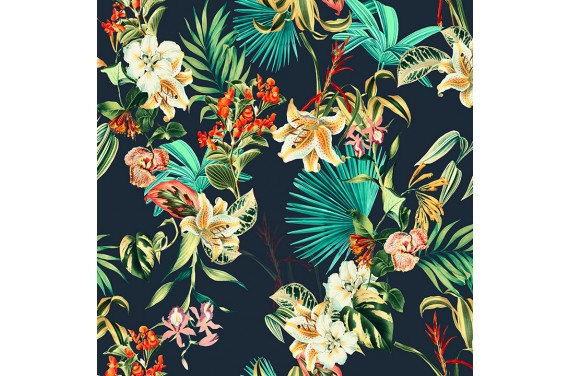 Exotic flowers on dark blue