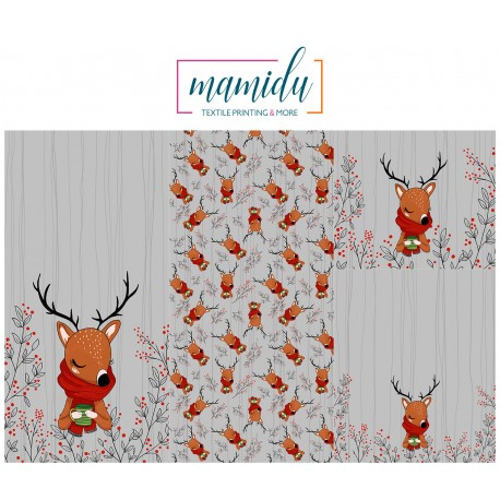 "Panel for sleeping bag  ""Winter deer 2 -grey"""