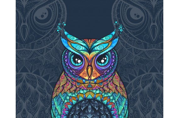 Panel for the bag - Colourful owl dark - 50x40 cm