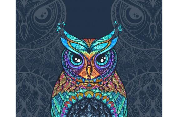 Panel na torbę - Colourful owl dark - 50x40